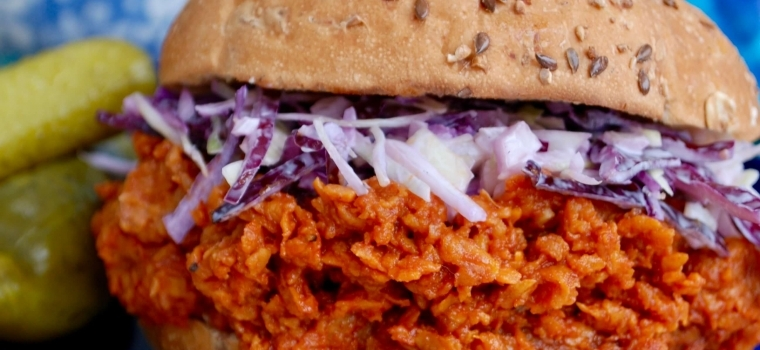 BBQ Pulled Sweet Potato Sandwich