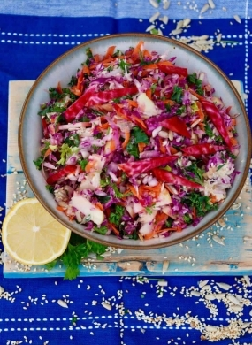 Super Slaw with Tahini Dressing