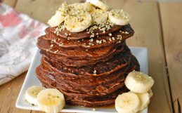 Vegan Chocolate Banana Protein Pancakes
