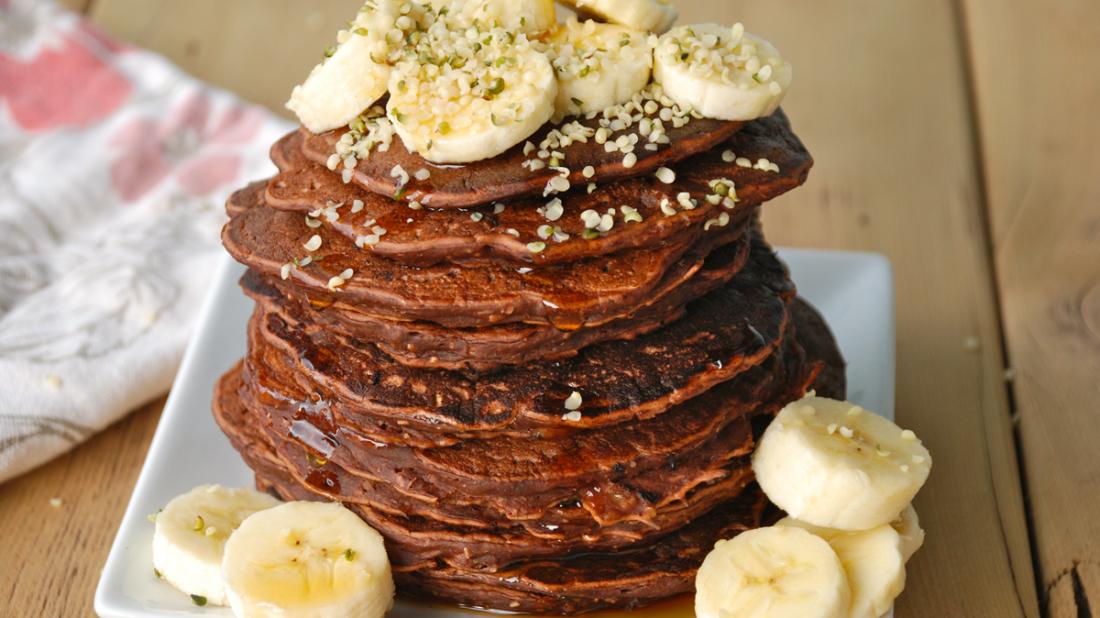 Vegan Chocolate Banana Protein Pancakes